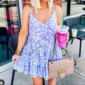 Lilac Slip Dress Tank Flowy Animal Print lattice